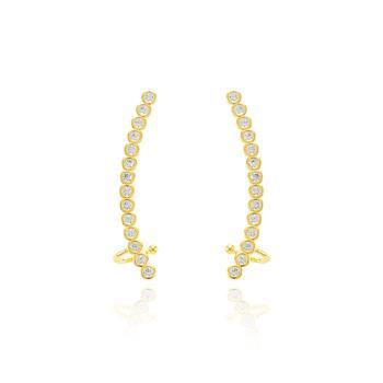 Brinco Ear Cuff Folheado Ouro 18K com Pedras Micro Zircônia Cristal