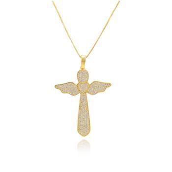 Colar Cruz Folheado Ouro 18K com Coração e Asas Zircônia Cristal