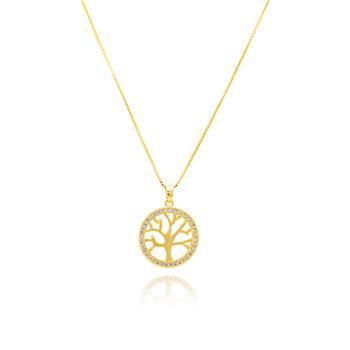 Colar Mandala Pequena Folheado Ouro 18K Arvore da Vida com Micro Zircônia Cristal