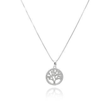 Colar Mandala Pequena Folheado Ródio Arvore da Vida com Micro Zircônia Cristal