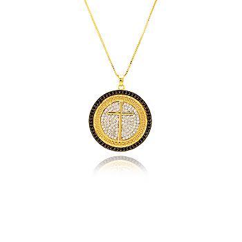 Colar Mandala Folheado Ouro 18K Com Cruz e Micro Zircônia Cristal