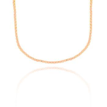 Colar Choker Riviera Com Zircônia Rosa Folheado Ouro 18K
