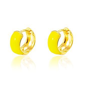 Brinco Argola Folheado Ouro 18K Resina Amarelo Neon