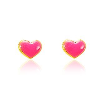 Brinco Coração Folheado Ouro 18K Resina Pink