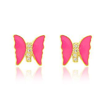 Brinco Borboleta Folheado Ouro 18K com Micro Zircônia Cristal e Resina Pink