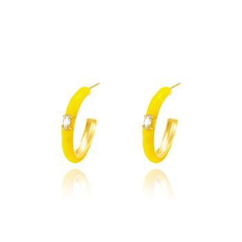 Brinco Argola Grande Folheado Ouro 18K com Resina Amarelo Neon e Navete Cristal