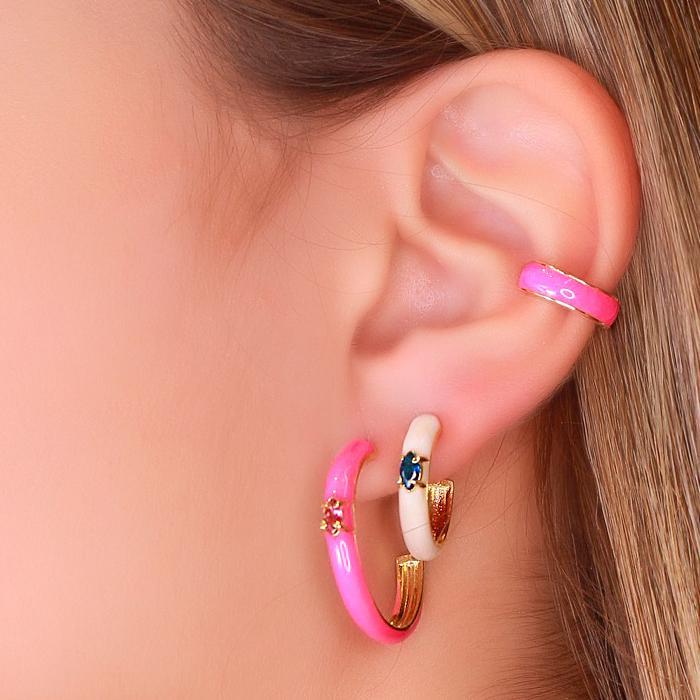 Brinco Argola Grande Folheado Ouro 18K com Resina Pink Neon e Navete Pink
