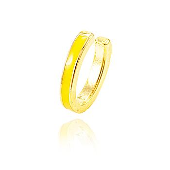 Piercing Fake Folheado Ouro 18K Oval com Resina Amarelo Neon