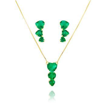 Conjunto Três Corações Folheado Ouro 18K Cristal Turmalina Verde