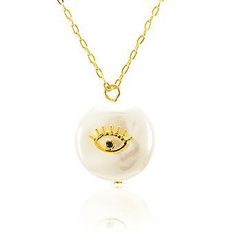 Colar Folheado Ouro 18K Pérola Barroca com Olho e Zircônia Preta No Centro