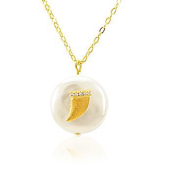 Colar Folheado Ouro 18K Pérola Barroca com Dente e Micro Zircônia Cristal
