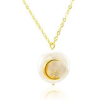 Colar Folheado Ouro 18K Pérola Barroca com Lua, Estrela e Micro Zircônia Cristal