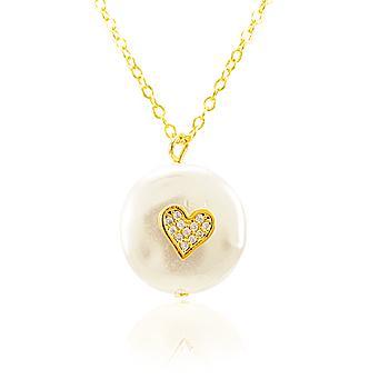 Colar Folheado Ouro 18K Pérola Barroca com Coração e Micro Zircônia Cristal