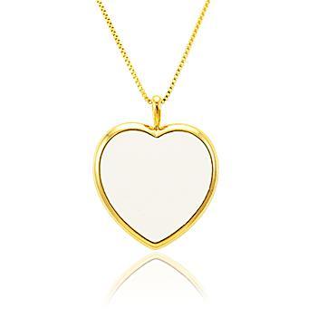 Colar Coração Folheado Ouro 18K com Resina Branca