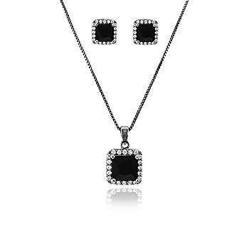 Conjunto Quadrado Folheado Ródio Negro com Micro Zircônia Cristal
