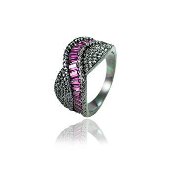 Anel Luxo Folheado Ródio Negro Argola com Zircônia Carre Pink