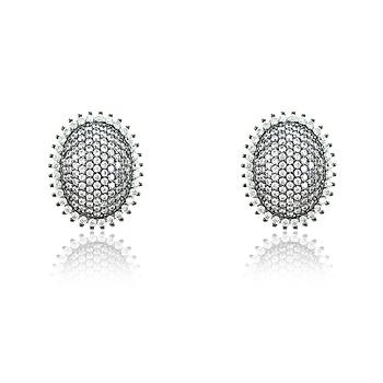 Brinco Oval Folheado Ródio Negro com Micro Zircônia Cristal
