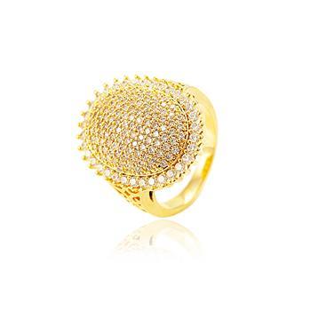 Anel Oval Folheado Ouro 18K com Micro Zircônia Cristal