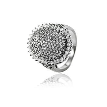 Anel Oval Folheado Ródio Negro com Micro Zircônia Cristal