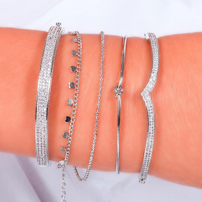 Bracelete Folheado Ródio Detalhe em V com Micro Zircônia Cristal
