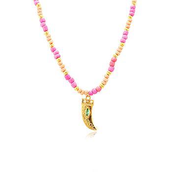 Colar Choker Folheado Ouro 18K Miçangas Rosa e Dente com Navete Turmalina Azul