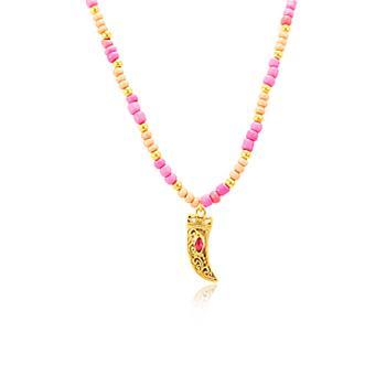 Colar Choker Folheado Ouro 18K Miçangas Rosa e Dente com Navete Pink
