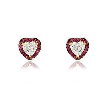 Brinco Coração Folheado Ouro 18K Micro Zircônia Pink com Pedra Central Cristal