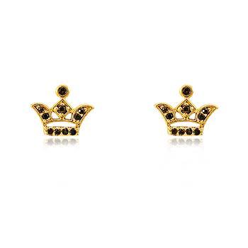 Brinco Coroa Folheado Ouro 18K Detalhada com Micro Zircônia Negra