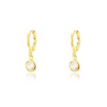 Brinco Argola Folheado Ouro 18K com Tiffany