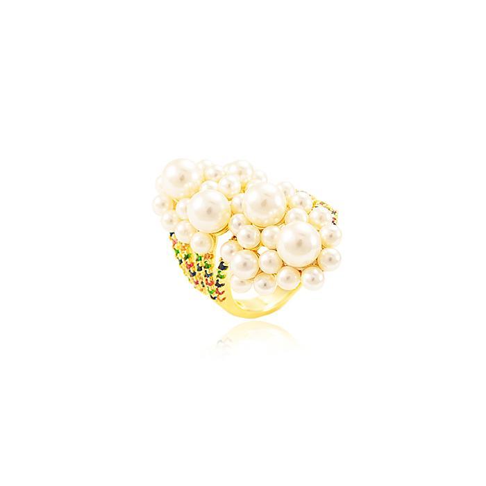 Anel Oval Folheado Ouro 18K com Pérola e Micro Zircônia Colorida