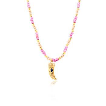 Colar Choker Folheado Ouro 18K Miçangas Rosa e Dente com Navete Azul