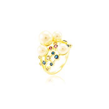 Anel Folheado Ouro 18K Detalhado com Zircônia Colorida e Pérola