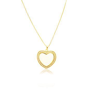 Colar Coração Folheado Ouro 18K Micro Zircônia com Madre Pérola no Centro
