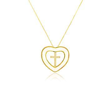 Colar Coração Folheado Ouro 18K Madre Pérola com Cruz no Centro