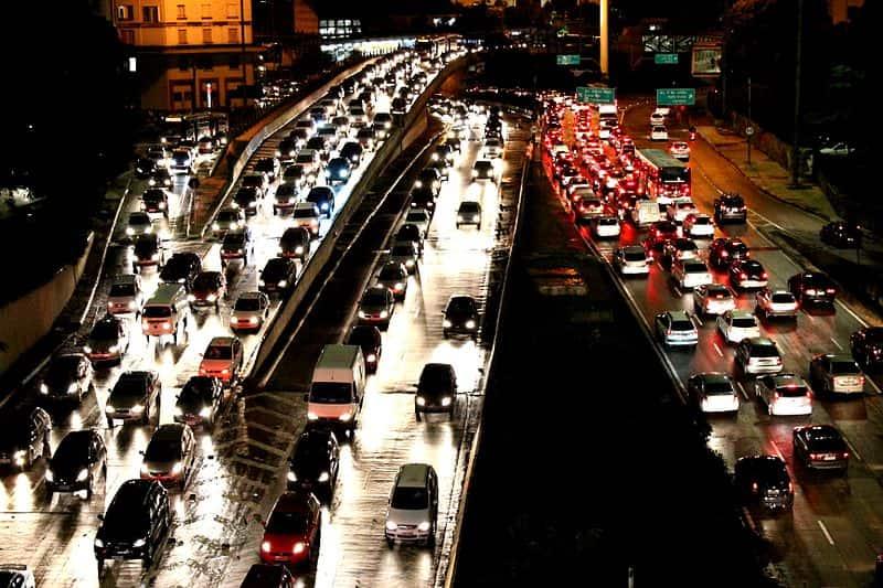 Congestionamento na região central de São Paulo.