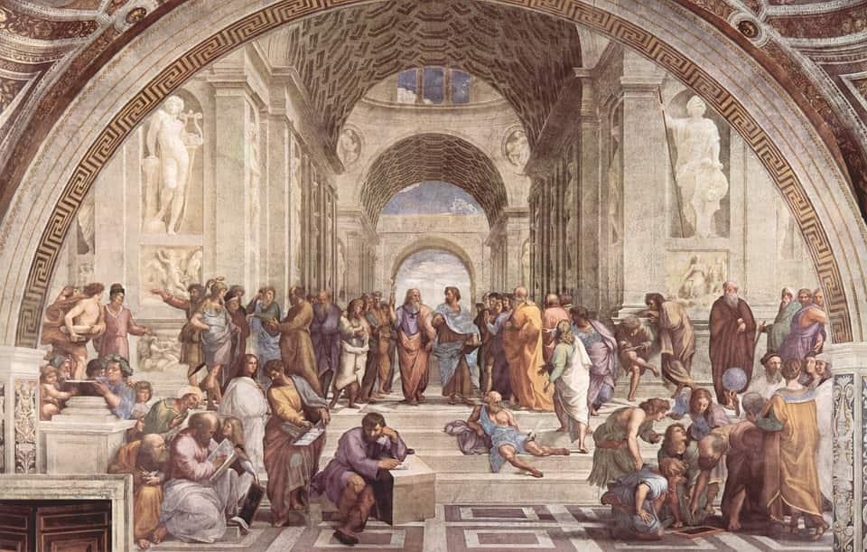 """""""Escola de Atenas"""", pintada durante o Renascimento por Raphael. A Antiguidade Clássica foi uma das principais inspirações do período renascentista."""