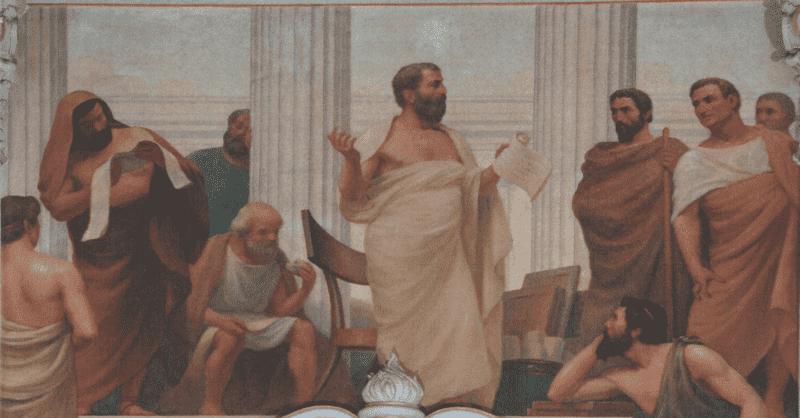 O Início da Ciência (1906), por Veloso Salgado. Tales de Mileto é o que se encontra sentado.