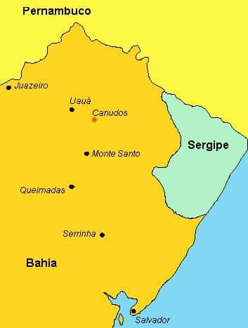 Mapa da região de Canudos.