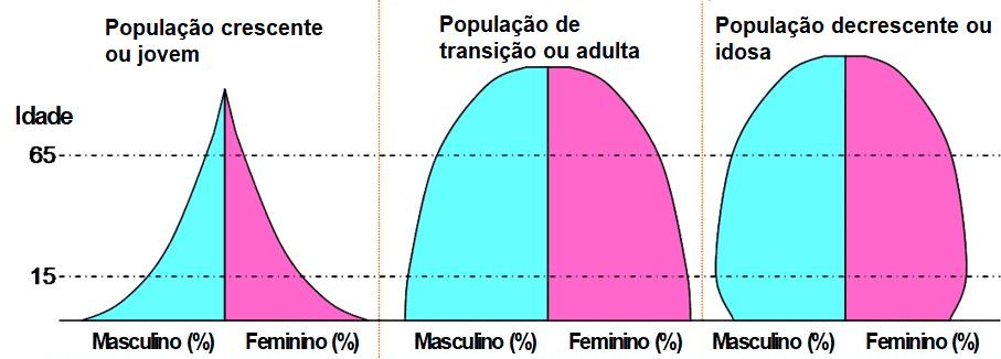 Tipos de Pirâmides Etárias.