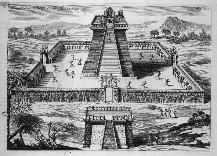 Templo asteca. Gravura de Jan Karel Donatus.