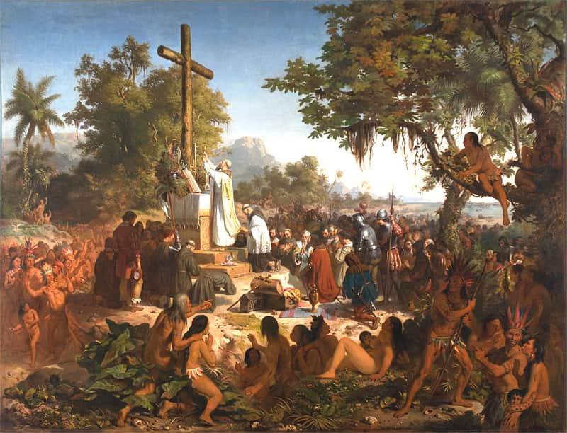 Representação da primeira missa celebrada no Brasil, em 1500, do artista Vítor Meireles