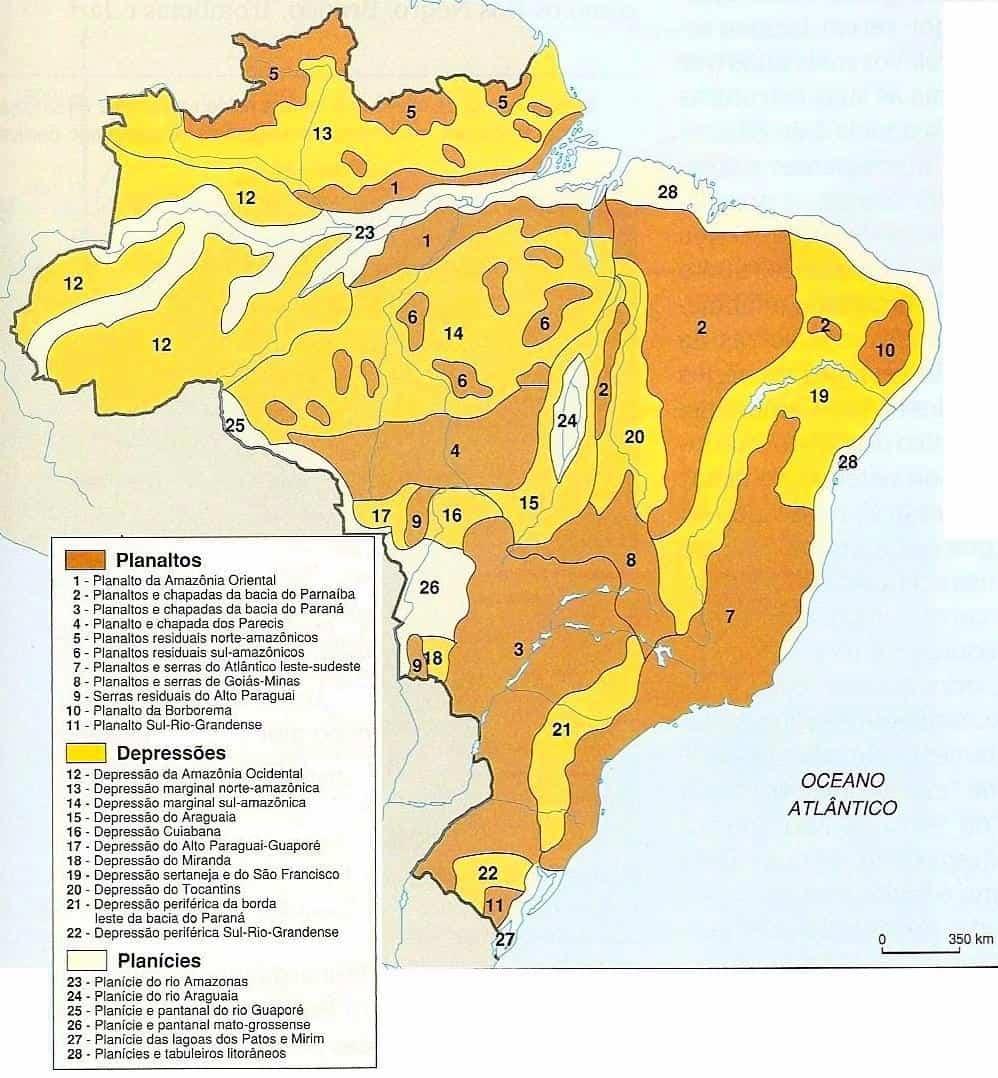 Classificação do Relevo Brasileiro por Jurandyr Ross em 1989.