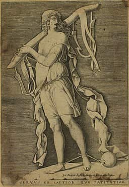 """Pintura do Século XVI chamada de """"A escravidão""""."""