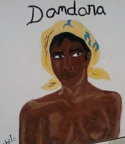 Pintura de Dandara, esposa de Zumbi, que dedicou muitos anos da sua vida a lutar bravamente pelo Quilombo de Palmares.