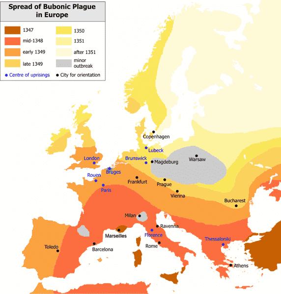 Mapa em inglês ilustrando a evolução, ano a ano, das áreas atingidas pela peste negra.