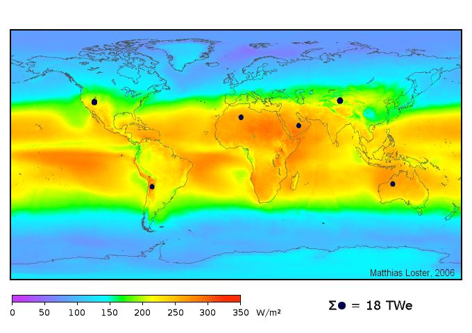 Radiância solar média global em W/m².
