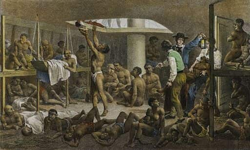 """Obra intitulada """"Navio negreiro"""" do artista Rugendas."""