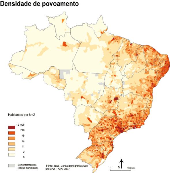 Densidade demográfica por estados da federação.
