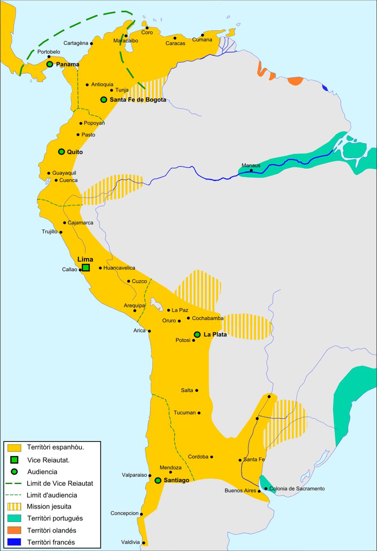 Mapa da América Espanhola no final do Século XVII, antes das lutas de emancipação