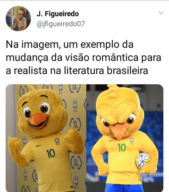 twit sobre a transformação do romantismo para o realismo através do mascote da seleção brasileira